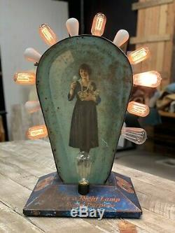 1920's Edison Mazda Lamp Hardware store counter advertisement display sign light