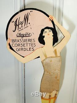 1920s Lingerie Corset Antique vtg Art Deco STORE DISPLAY Sign Pin-up Flapper
