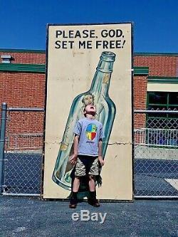 1930s Alcoholics Anonymous Sign Advertising Pop Folk Art AA God Religion