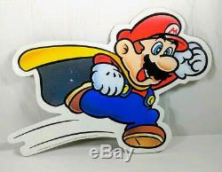 1983-2002 VTG Mario Nintendo Super Mario World Retail Store Display Sign Plastic