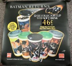 1992 McDonalds Batman Returns 32oz Collectors Cup Store Display Sign Poster Dc