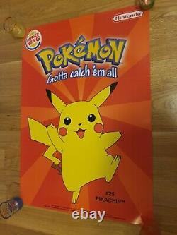 1999 Pokemon Burger King Poster Promotional Display store A2 Nintendo Pikachu