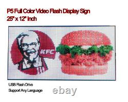 25x 12 Full Color Video P5 HD LED Sign Programmable Scrolling Message Display