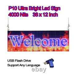 38x 12 Full Color Semi Outdoor LED Sign Programmable Scrolling Message Board
