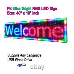 40x10 P8 Full Color Semi Outdoor LED Sign Programmable Scrolling Message Board
