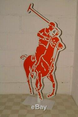 90s Vtg RALPH LAUREN 2-Sided Store Sign ADVERTISING DISPLAY Big 44 POLO JOCKEY