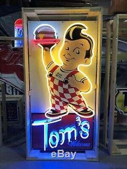 AMAZING Large BOBS BIG BOY Tom's Welcome NEON Sign STORE DISPLAY Garage Man Cave
