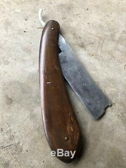 ANTIQUE FOLK ART WOOD BARBER SHOP STRAIGHT RAZOR TRADE SIGN Store Display