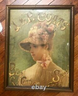 ANTIQUE J&P COATS SPOOL Six Cord COUNTRY STORE Advertising SIGN VICTORIAN LADY