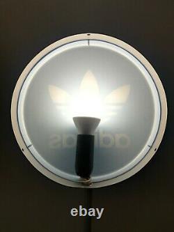Adidas Original Store Round Wall Display Sign Neon Light Blue/white Trefoil