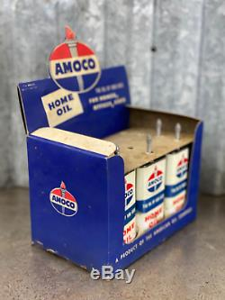 Amoco Handy Oiler Store Display Sign Cardboard Home Oil Can Not Quart with 4 cans
