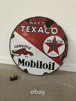 Ancienne Plaque Emaillee Texaco / Mobiloil Rare Enamel Sign Emailschild Bord