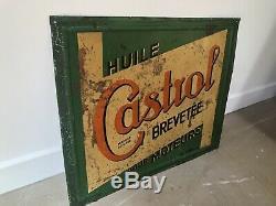 Ancienne Plaque Tole Castrol No Emaillee Enamel Sign Bidon