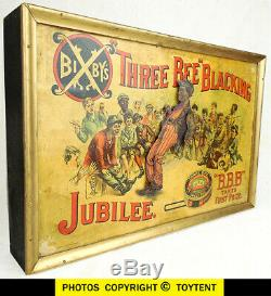Antique 1888 animated store display Bixbys Jubilee Three Bee Blacking tap dancer
