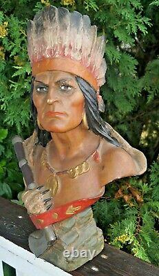 Antique 1890s Advertising Tobacco / Cigar Store American Indian Display Sign