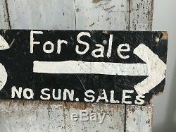 Antique Aafa Wooden Original Painted Double Sided Advertising Trade Sign Eggs