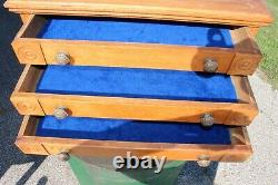 Antique Country Store Vintage c. 1900 Clark's 6 Drawer Oak Spool Cabinet Display
