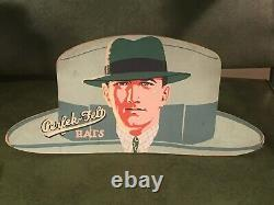 Antique Die Cut Hat Store Display Sign Art Deco Vintage Great Graphic Clothing