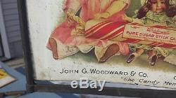Antique General Store Stand Up Telescoping Display Sign Woodwards Stick Candy