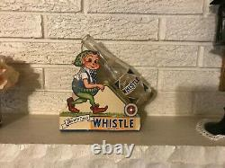 Antique VINTAGE WHISTLE SODA DIE CUT CARDBOARD STORE Bottle DISPLAY Double Sided