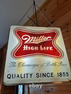 Antique Vtg 1957 Miller High Life Lighted Store Display, Double Sided Sign/Clock