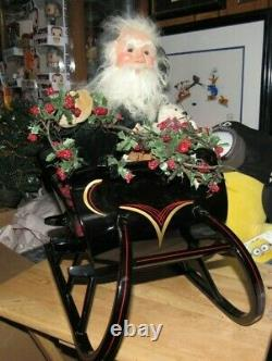 Byers Choice Store Display Santa in Sleigh Green Coat 406/1000 1998 Signed Joyce