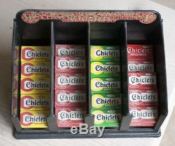 Chiclets tiny size Gum Display Antique Metal Counter Store sign