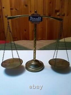Depend on Rexall Drugs Store Advertising Brass Counter Top Scale Display 14