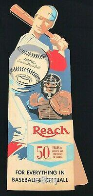 Early 1960s REACH Baseball Die Cut Advertising Store Display Sign Rare Canadian