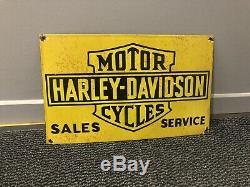 Enamel Sign Porcelain Harley Davidson Motorcycles Plaque Émaillée Vintage Old