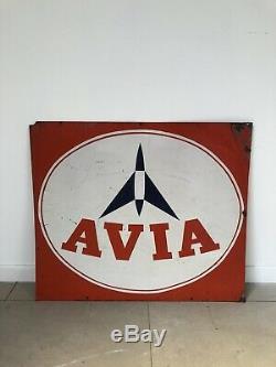 Grande Plaque Avia Ancienne Tole No Emaillee Enamel Sign