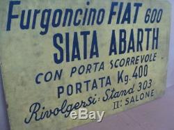 Insegna Furgoncino Fiat 600 Siata Abarth Cartello Salone Auto Epoca Old Sign