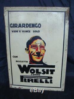 Insegna Girardengo Vede E Vince Con Bicicletta Wolsit Gomme Pirelli Old Sign
