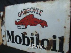 Insegna smaltata Mobiloil Gargoyle old sign vintage olio Lancia Alfa Romeo Fiat