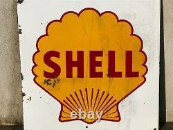 Insegna smaltata SHELL 1954 Tabella Targa Motor Oil Garage Auto Service Sign Oel