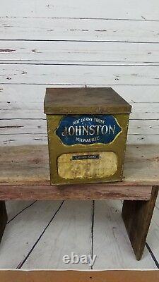 Johnston Milwaukee General Store Counter Display Vintage Tin Sign