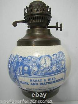 Karat & Dial Clock and Watchmakers Advertising Store Display Sign Ad Oil Lamp