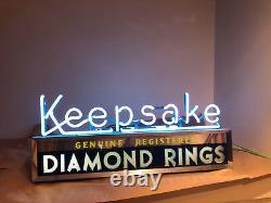 Keepsake Diamond Rings Store Display Advertising Neon Sign-1940's orginal