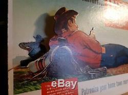LEVI 501 store sign display 1940s 1950s VINTAGE 3D die cut Cowboy(NOT REPRO)
