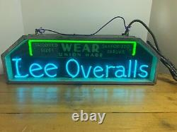 Lee Overalls Neon Sign Wear Union Made Tailored Sizes Sanforized Shrunk