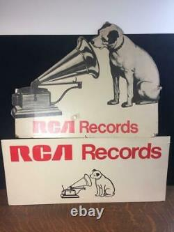 Lot of 2 Vtg RCA VICTOR RECORDS Nipper Dog His Masters Voice Store Display Signs