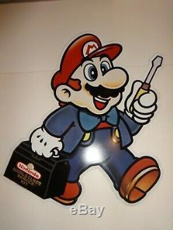 Mario Die Cut Metal Store Display Sign Nintendo World Class Service Repair