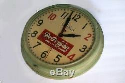 Mid Century Modern Industrial Dr Pepper Store Display Advertising Sign Clock