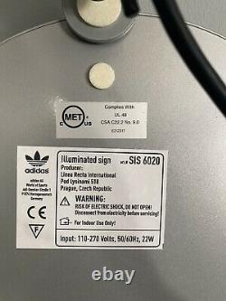 NEW IN BOX Adidas Original Store Display Sign Neon Light Blue/white Trefoil