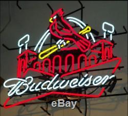 Neon Signs St louis cardinals BUDWEISER Beer Bar Pub Store Room Display 24X20