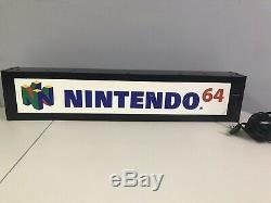 Nintendo N64 Vintage Authentic Retail Store Display Light Up Sign-Very Rare L@@K