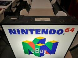 Official NINTENDO 64 Logo Light UP Store Sign Display N64 RARE Working Condition