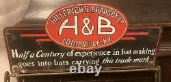 Orig Store Display 1930s HILLERICH & BRADSBY Louisville Slugger Bat Rack Sign