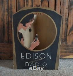 Original 1929 THOMAS EDISON RADIO Light-O-Matic TRI-FOLD WINDOW-STORE DISPLAY