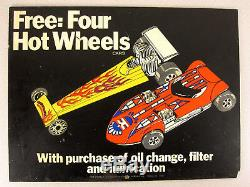 Original Vintage 70's Shell Gas Station FREE HOT WHEELS Store Display SIGN 18x14